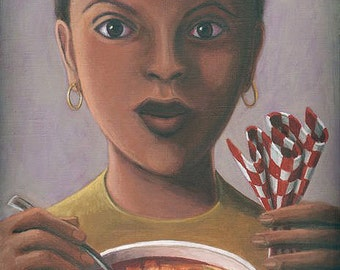 Girl with Alphabet Soup ORIGINAL PAINTING small oil on linen framed fine art soul nourishing gift for art lover or cook - Free U.S. Shipping