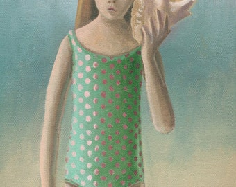 Girl with Shell original oil painting by Sheryl Humphrey 12x9 inches sea green beach ocean somewhat surreal Unusual Gift - Free USA shipping