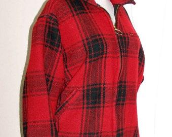 Vintage 1950s Red Plaid Ladies Waist Coat by Melton