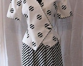 RESERVED:  Genuine 1980's LILLIE RUBIN Silk and Linen Summer B&W Suit  Size 4 Mini-Skirt Look