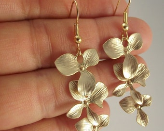 Cascading Orchid Earrings, Gold Earrings, Wedding Gift, Bride, Bridesmaid Gift, Flower Earrings, Gift under 40
