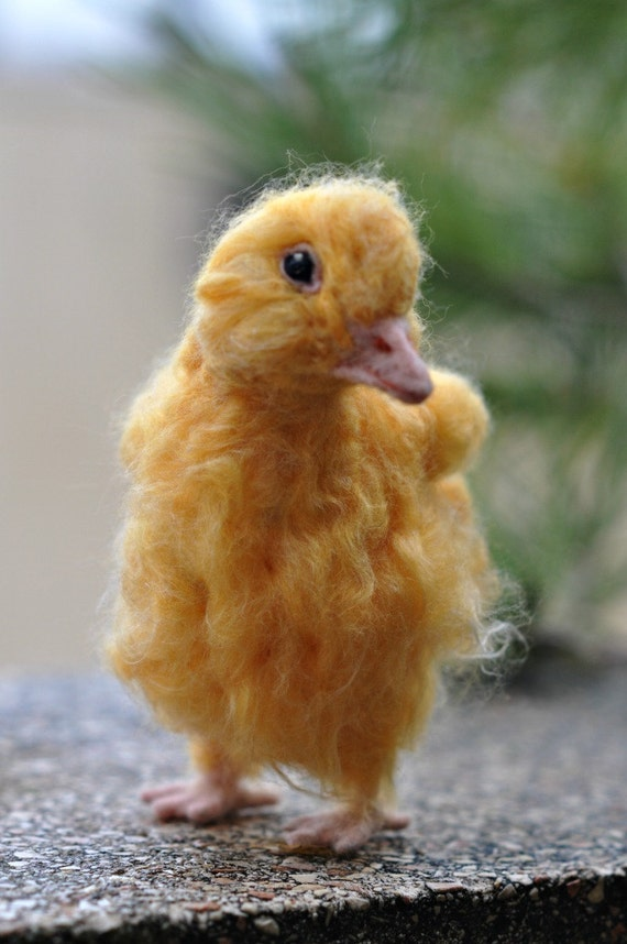 Needle Felted Bird Yellow Easter Duckling  Bird Soft Sculpture. Made to custom order