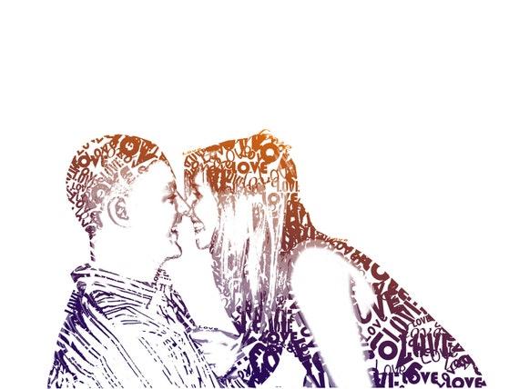 Typography Custom Portrait from your photograph  8 x 10, digital illustartion, family portrait, custom portrait for couple