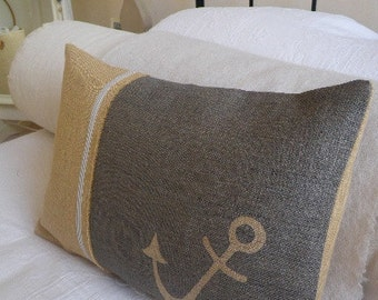 hand printed rustic corinthian anchor cushion cover