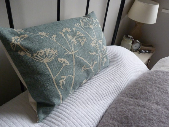 hand printed muted  teal blue cow parsley cushion cover