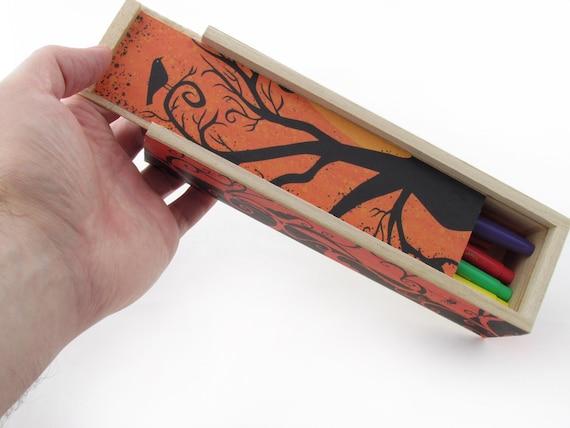 Crow Wooden sliding Pencil Box - Orange and Black Halloween Pencil Case - Back to School Pencil Box