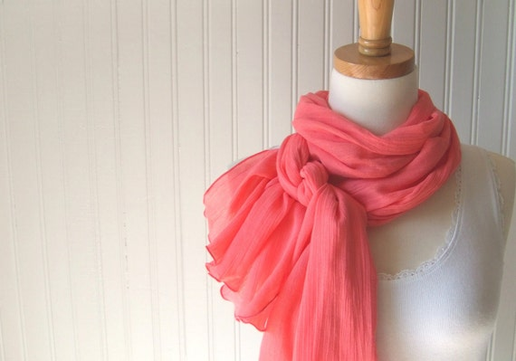 Cotton Gauze Scarf, Coral Cotton Scarf, Summer Scarf, Coral Orange Scarf, Long Cotton Scarf, Gift Idea, Mother's Day Gift Idea
