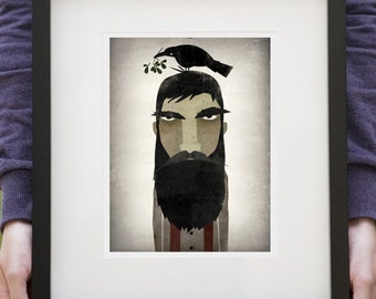LUMBERJACK, CROW, and MISTLETOE graphic art Giclee print Custom Framed 13.5 x 15.5 signed