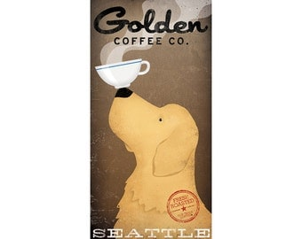 FREE Custom Personalized - Custom GOLDEN RETRIEVER Coffee Company graphic art giclee print  Signed
