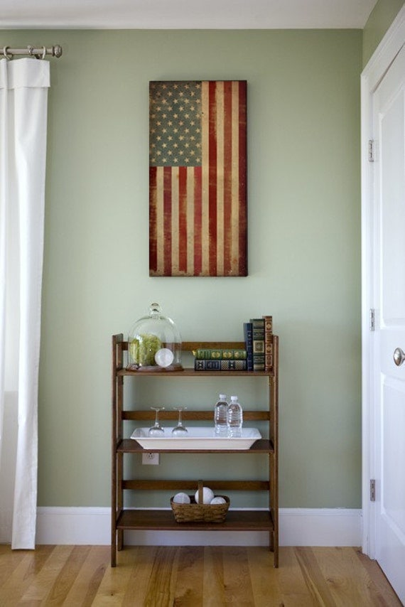 Election Day - American United States Flag Old Glory Stretched Canvas Wall Art 12x24x1.5 inches - SIGNED