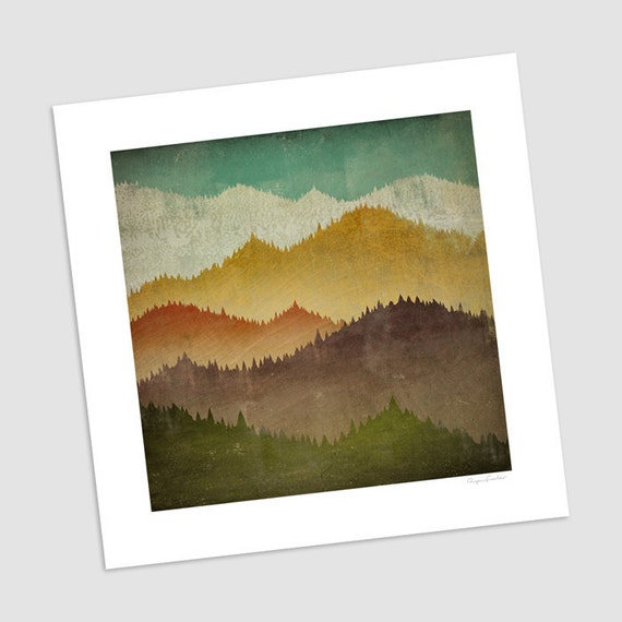 MOUNTAIN VIEW Smoky Mountains Green Mountains graphic art print SIGNED