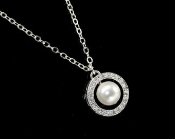 Pearl Pendant Necklace, Bridal necklace, Pearl Wedding Jewelry, Vintage Style Bridal Necklace, Pearl Rhinestone Bridal Necklace