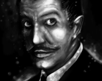 Vincent Price Black and White Art Print, 8x10