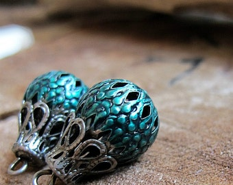 Turquoise Enameled Beads Dangles, Filigree Hollow Bead for Earrings, Charms, beads, hand painted with Antique enamel color. Bead Charms