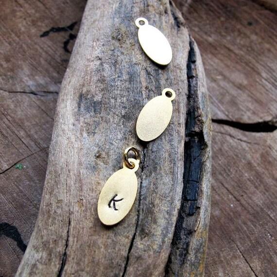 Oval Initial Pendant - Custom Gold Charm. Personalized Gold Charm Necklace Add on - Monogram custom jewelry - Minimalist Jewelry - Letters