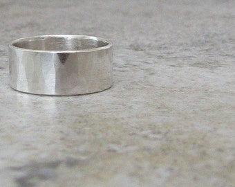 Mens Wedding Band Silver Hammered Wedding Ring Wide Faceted Band Engraved Wedding Band