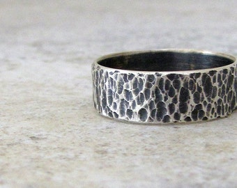 Mens Wedding Band Hammered Silver Wedding Ring Coral Reef Rustic Wedding Bands Unique Wedding Rings Rugged Wedding Bands Steampunk Ring Gift