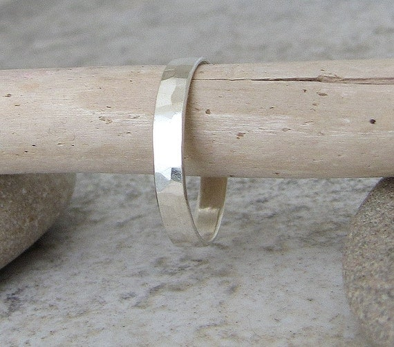 Simple Wedding Band Hammered Silver Wedding Ring by SilverSmack