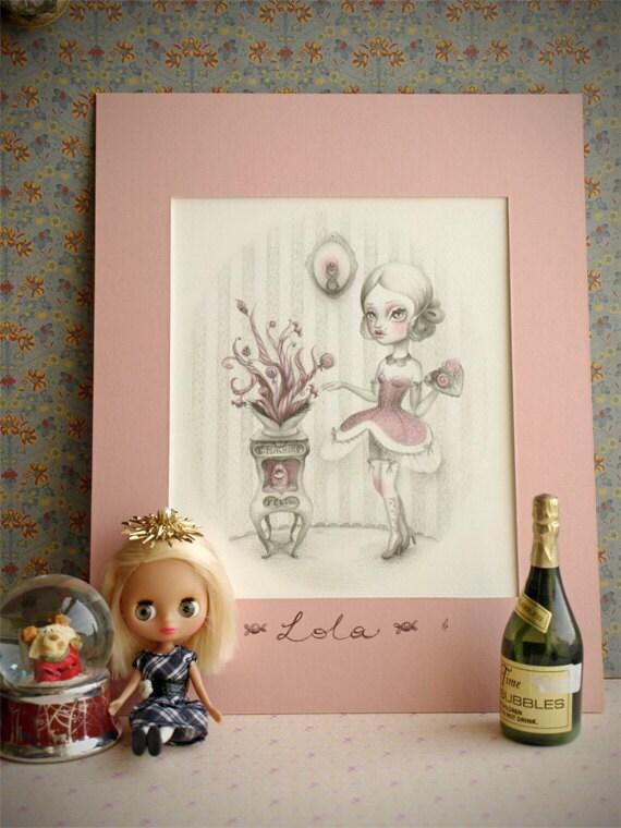 Lola. Sweet tentacles. Original tinted pencil drawing. pop surrealism by KarolinFelix