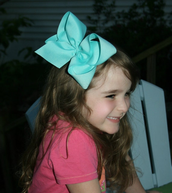 "Pick 5 - Jumbo  Hair Bows -- 2.25"" Ribbon - Choose Colors - Great for Birthday Party / Weddings / Photo Prop / Spring Easter  BIG"