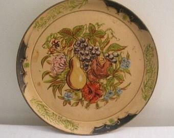 SALE - Vintage Fruit Florentine Round Serving Tray - ISCO
