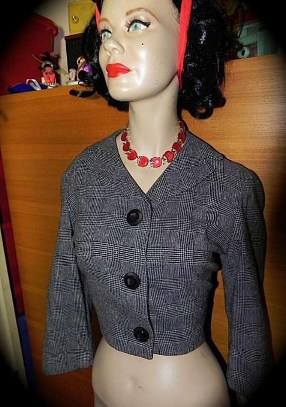 CUTE Vintage 50s Tweed Rockabilly Cropped Jacket Blouse S M -on sale-