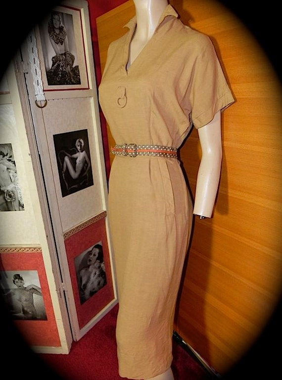 Vintage 40s 50s Mocha Silk Wiggle Dress with Scarf Loop and Dot Belt M - on sale