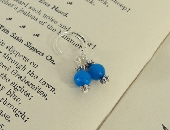 Royal Blue Jade Drop Earrings