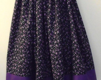 SALE! Girl's skirt, modest with beautiful purple flowers on a navy background w/purple band at hem