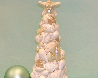 Seashell Christmas Tree - Tabletop Beach Decor-12 in. high
