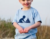 Little Sailor Short Sleeved Nostalgic Graphic Tee in Sky Blue with Navy FREE SHIPPING