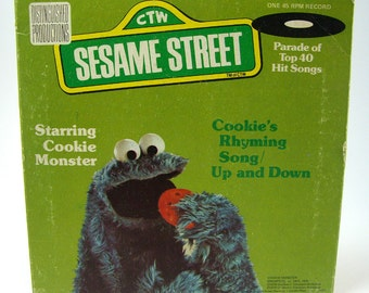 Sesame Street Cookie's Rhyming Song 45 Record, Up and Down, Original Cast - Sesame Street 1976