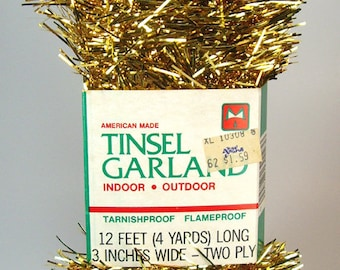 Gold Flat Tinsel Garland, 20 Feet, Flameproof, Indoor or Outdoor, Made in the USA, Christmas Holiday Decor, Tree Trim