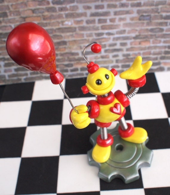 2nd Second Birthday Robot Cake Topper - Red Yellow Balloon Holding Robot Sculpture - Clay, Wire