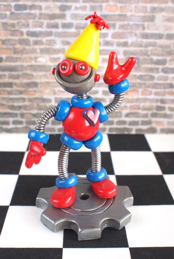 2nd Second Birthday Robot Cake Topper - Blue Red Robot Sculpture - Clay, Wire