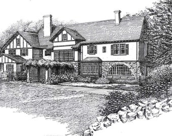 Custom Home Portrait in Pen and Ink