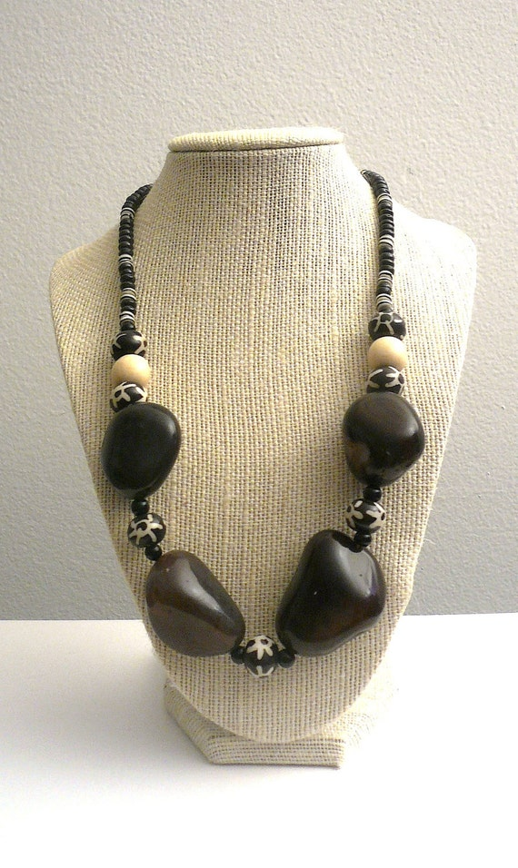 SALE ...Mozambique Chocolate Agate Nugget and Bone Necklace
