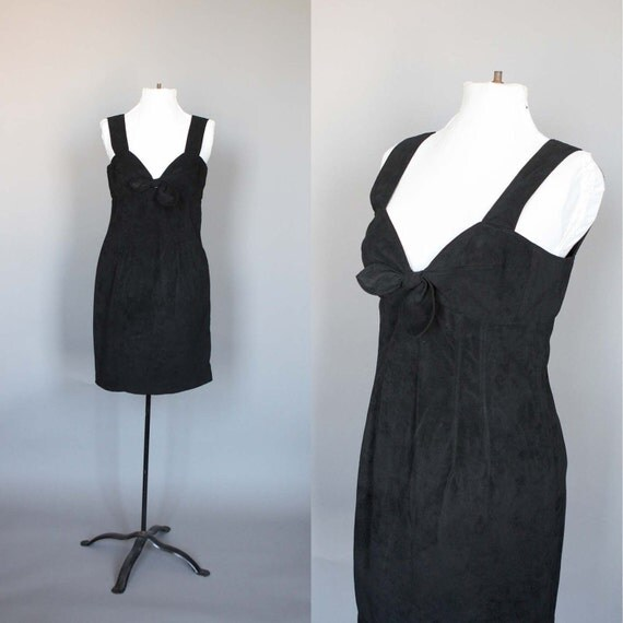 1990s Party Dress Black Faux Suede Vintage 90s Cocktail Dress Medium Large