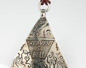 Love Heaven or Heartbreak Hell Talisman - Sterling Silver Etched Pendant - Handmade Heaven / Hell Etched Triangle Pendant - Southwest Etched