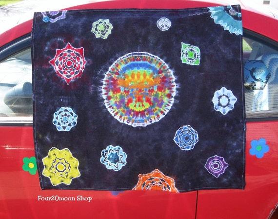 Tie Dye Moon & Mandala Stars Tapestry -  Wall Hanging OOAK