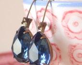 Montana Blue Rhinestone Earrings Vintage Pears Old Hollywood Glam