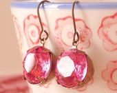 Rose Pink Rhinestone Earrings Retro Vintage Holiday Round Estate Jewels