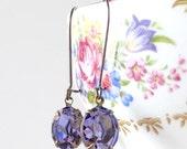 Prom Earrings Tanzanite Swarovski Crystal Violet Retro Rhinestones Bridal Bridesmaids