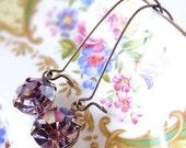 Swarovski Amethyst Earrings Purple Rhinestone Retro Orchid Lilac Lavender