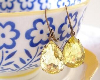Lemon Drop Martini Earrings Jonquil Yellow Rhinestones Retro Summer Pears