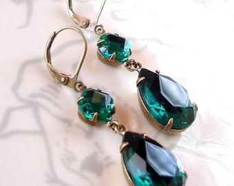Emerald Green Earrings Holiday Retro Rhinestone Bridal Old Hollywood Glam Forest Green