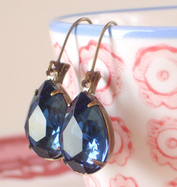 Montana Blue Rhinestone Earrings Vintage Pears Old Hollywood Glam