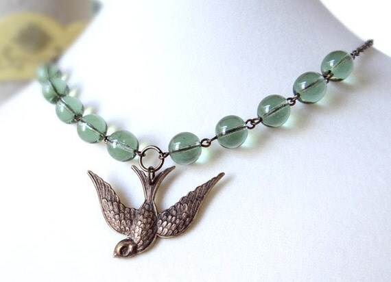 Vintage Swallow Necklace Retro Robins Egg Blue Bird Beads Spring