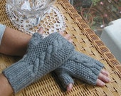 Grey Fingerless Cable Texting Gloves - Steel Gray All Wool