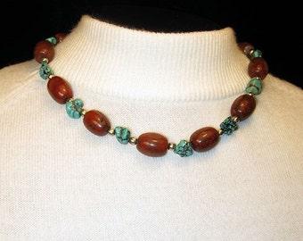 Chunky Single Strand Blue Turquoise and Red Jasper Necklace, Handmade Southwestern Turquoise Gemstone Statement Necklace, Turquoise Jewelry